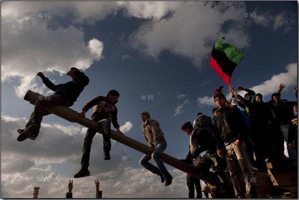 Lindsay Addario VII: Libyans demonstrate against Libyan leader Muammar al-Gaddafi, in Benghazi, Libya.