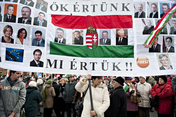 Robert McPherson Photo Demonstrators in Budapest